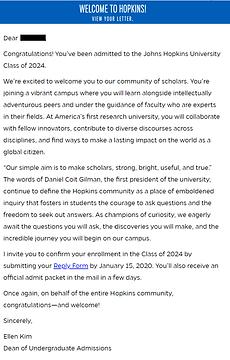 Johns Hopkins University Acceptance Letter