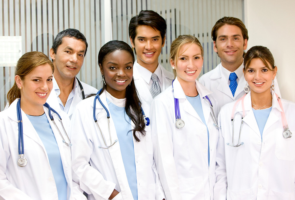 high school students shadowing a doctor