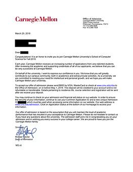 Carnegie Mellon University Acceptance Le