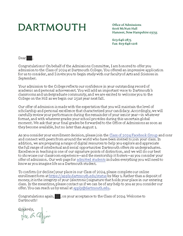 Dartmouth College Acceptance Letter