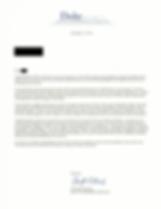 Duke University Acceptance Letter