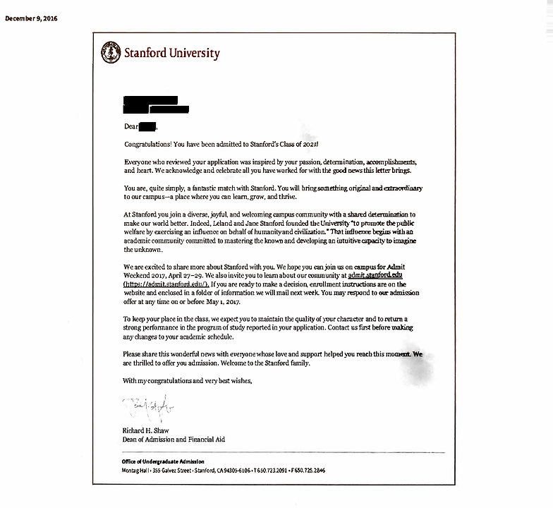 Solomon Admissions Consulting Acceptance Letters