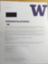 University of Washington Acceptance Lett