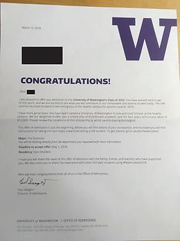 University of Washington Acceptance Lett