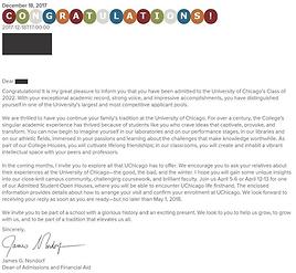 University of Chicago Acceptance Letter.