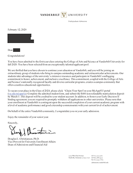Vanderbilt University Acceptance Letter