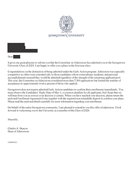 Georgetown University Acceptance Letter