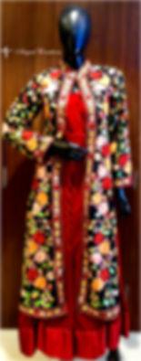 Kashmiri, Embroidered, Jacket, Red, Velvet, Gown, multicolour