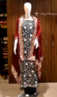 Aishwarya Rai Dress, Aishwarya, Aari, embroidery, embroidered, black and white, dress, orni, red, velvet, orni, tilla, zari, angadcreations, angad creations