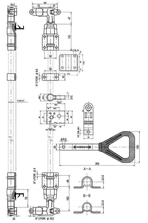Замок стержневой d 22 мм  ручка «Дельта». Усиленный