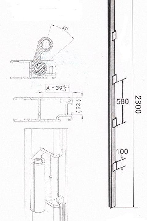Планка с петлями алюминиевая для заднего портала