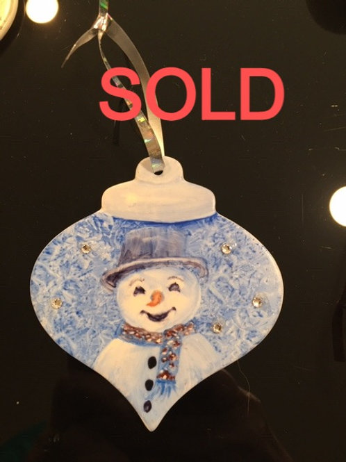 CM20  ORNAMENT SNOWMAN WITH CRYSTALS