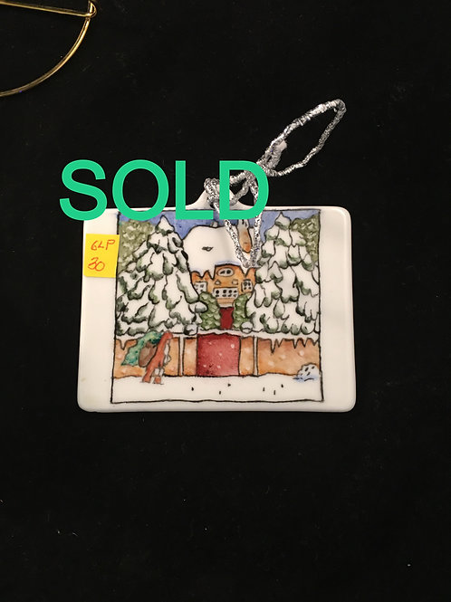 6LP RECTANGLE ORNAMENT HOUSE WITH TREES AND SNOW