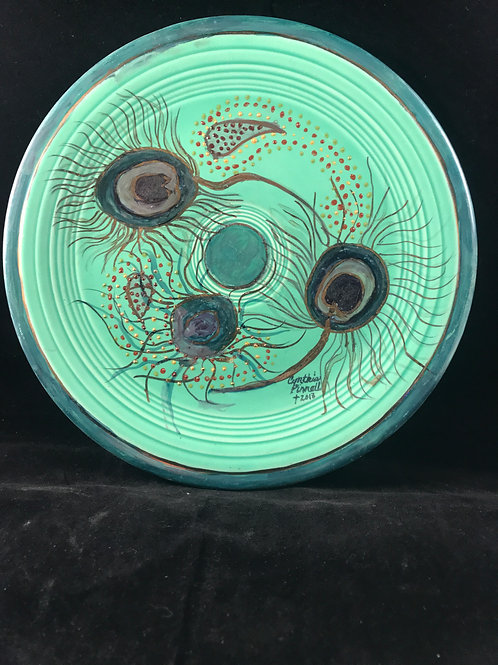 CP3    FIESTA WARE PLATE WITH PEACOCK FEATHERS