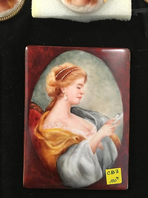 CB3 MINIATURE PORTRAIT WOMAN WITH GOLD SHAWL