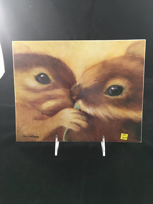"1PL   CHIPMUNKS ON AN 8X10"" TILE"