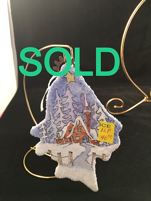 1LP TREE SHAPED ORNAMENT WITH HOUSE IN SNOW