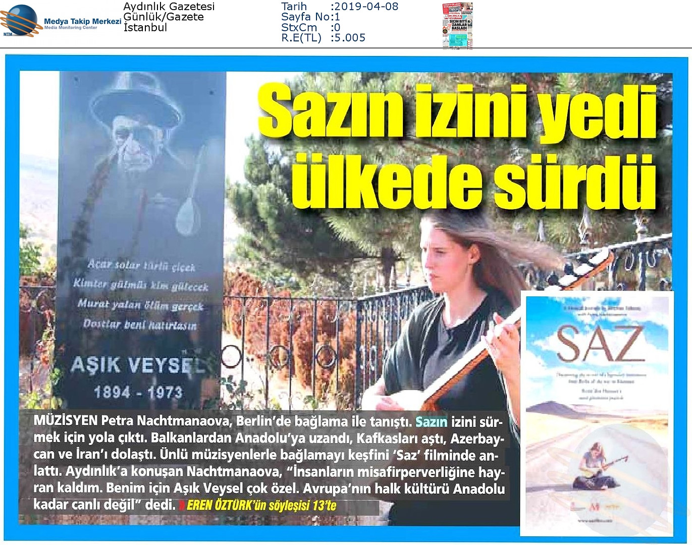 Aydýnlýk_Gazetesi-SAZIN_ÝZÝNÝ_YEDÝ_ÜLKED