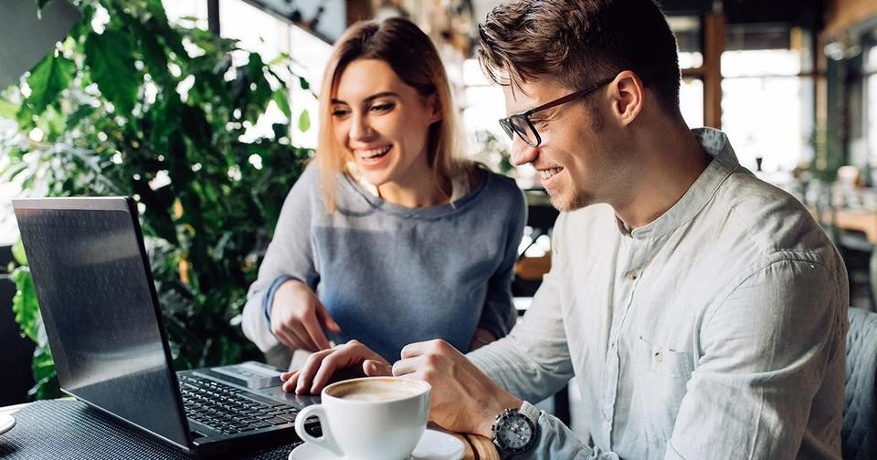 Happy Couple having Coffee