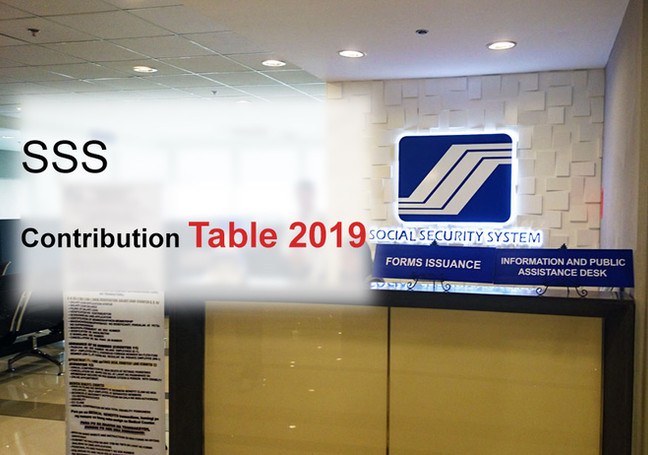 New SSS Contribution Table 2019