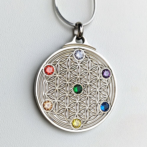 Flower of Life: 'Chakra' in Silver, Gold, or Rose Gold