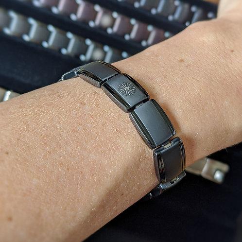 'Stealth' Mineral Titanium Bracelets in Gray/Black, Silver, or 2 Tone