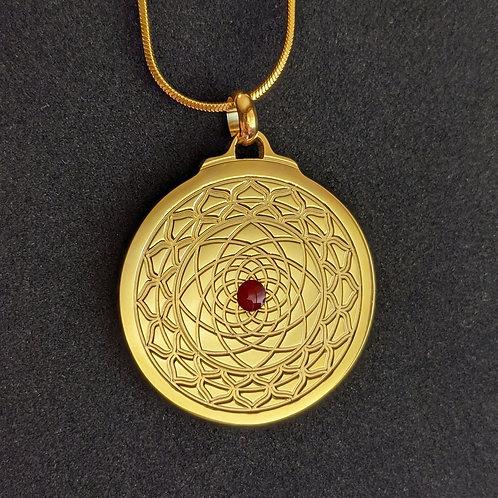 Mandala: 'Subtle Fire Center' in Gold over Titanium