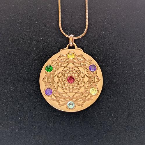Mandala: 'Dark Pink' Pendants in 18K Rose Gold over Titanium