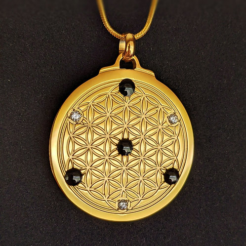 Flower of Life: 'Three Star' 18K Gold-Plated Titanium