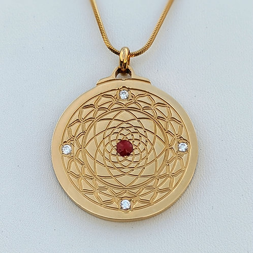 Mandala: 'Fire Vortex' - Red center in Silver or Gold