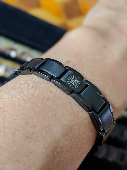 'Symmetry' Mineral Titanium Bracelets in Black, Gray, or Bronze Brushed finish