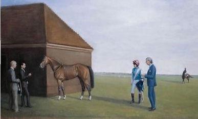 Painting of horse and jockey
