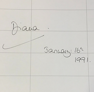 Princess Diana signed visitors book