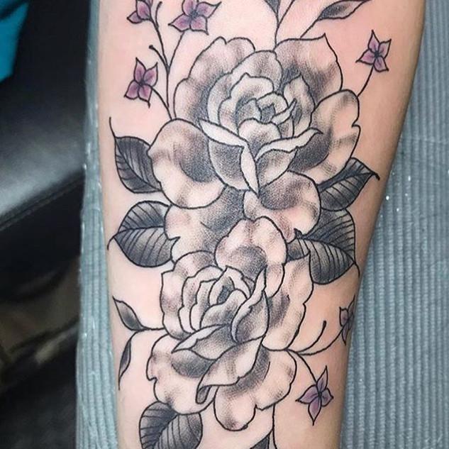Roses by Jaime #rosetattoo #blackworktat