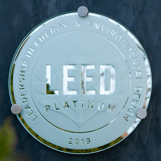 Mirror-backed LEED Glass Plaque