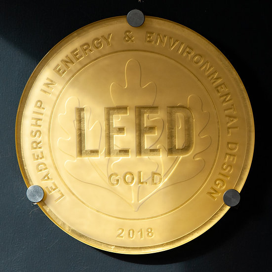 Genuine GOLD leaf backed LEED Glass Plaque