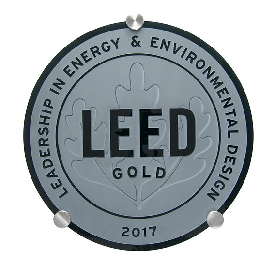 LEED black glass plaque ⌀40cm