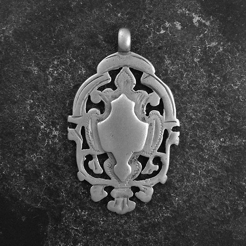 Silver Fob Charm. Sterling Silver, Escutcheon,  fob from 1899