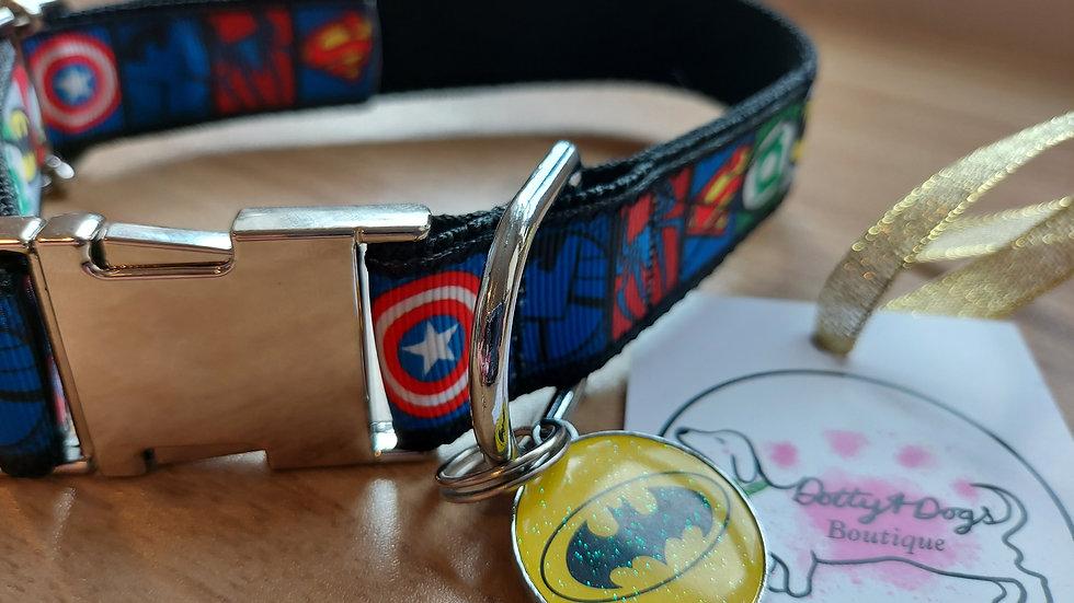 Super hero collar with matching charm