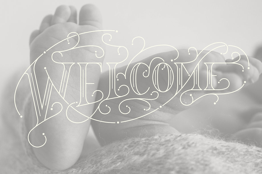 Custom hand-lettered birth announcement
