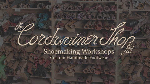 Cordwainer Shop Logo with leather shelf background