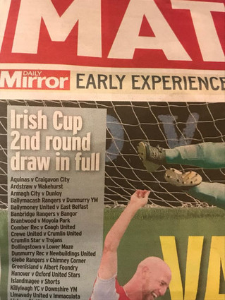 Irish Cup 2nd round 28 September 2018