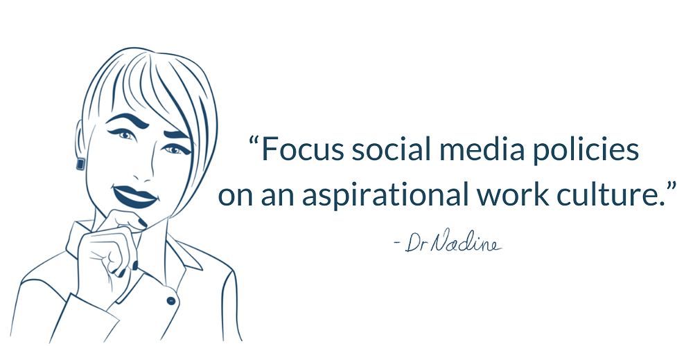 How To Avoid The Dangers Of Social Media In The Workplace, quote by Dr Nadine Greiner PhD