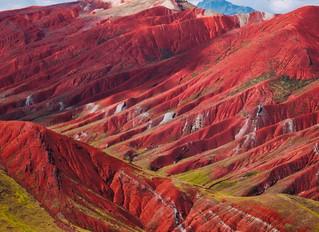 庫斯科Vinicunca彩色山脈的紅谷PITUMARCA