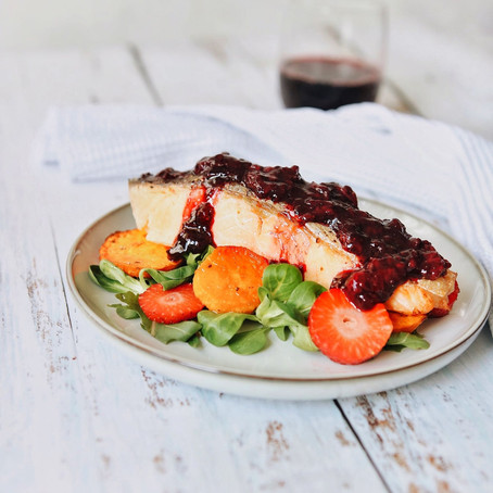 Oven Baked Salmon with a Strawberry Balsamic Reduction