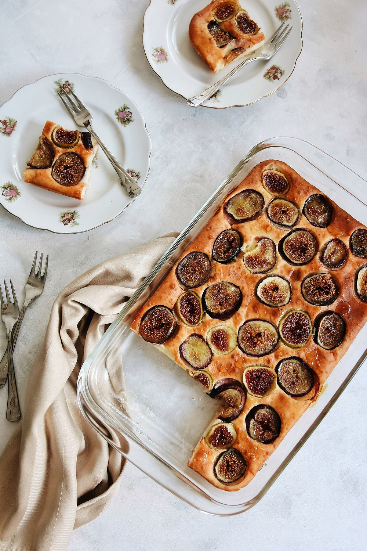 Gluten free fig cake with fresh figs, yogurt, sour cream and honey.