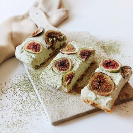 Fig and Matcha Cheesecake Bars