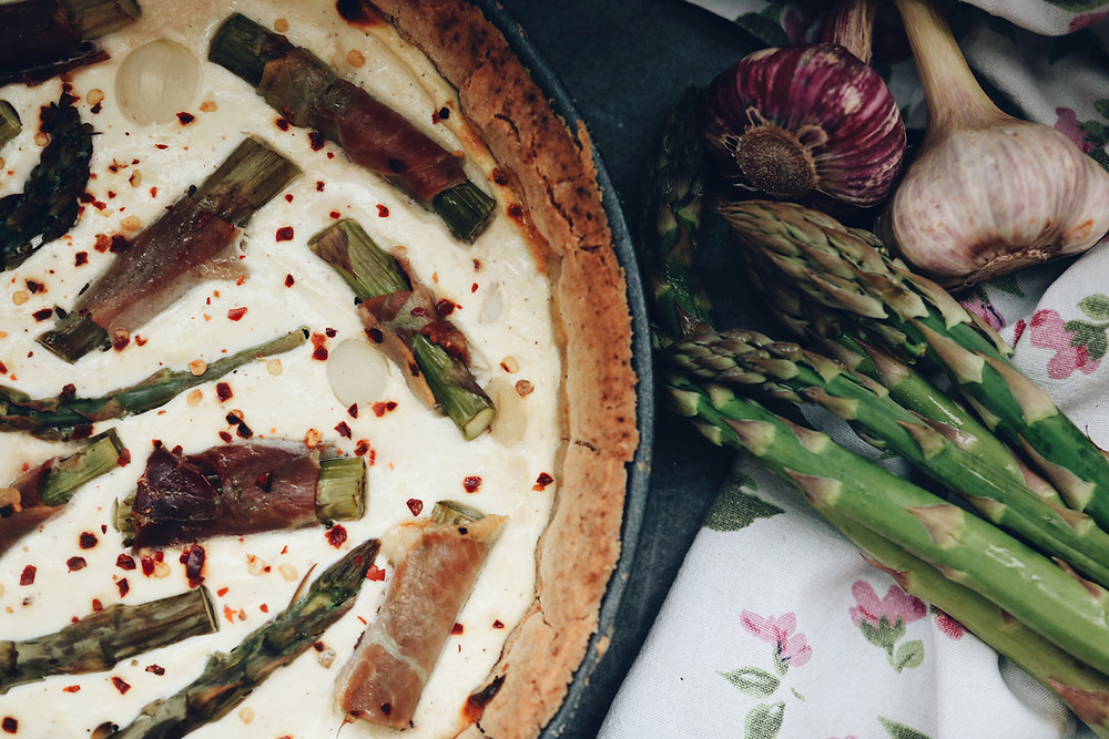 Gluten free goat cheese tart with asparagus and prosciutto.