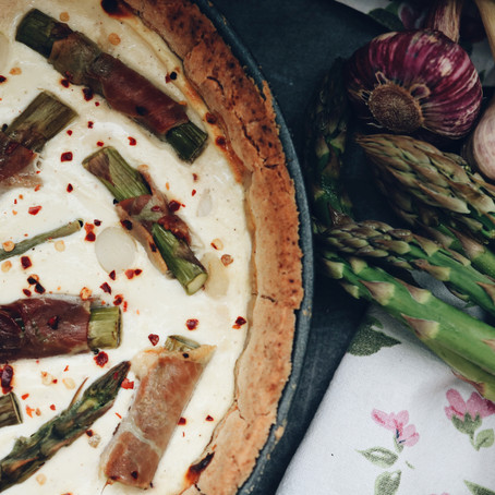 Goat Cheese Asparagus Tart with Prosciutto (Gluten Free)