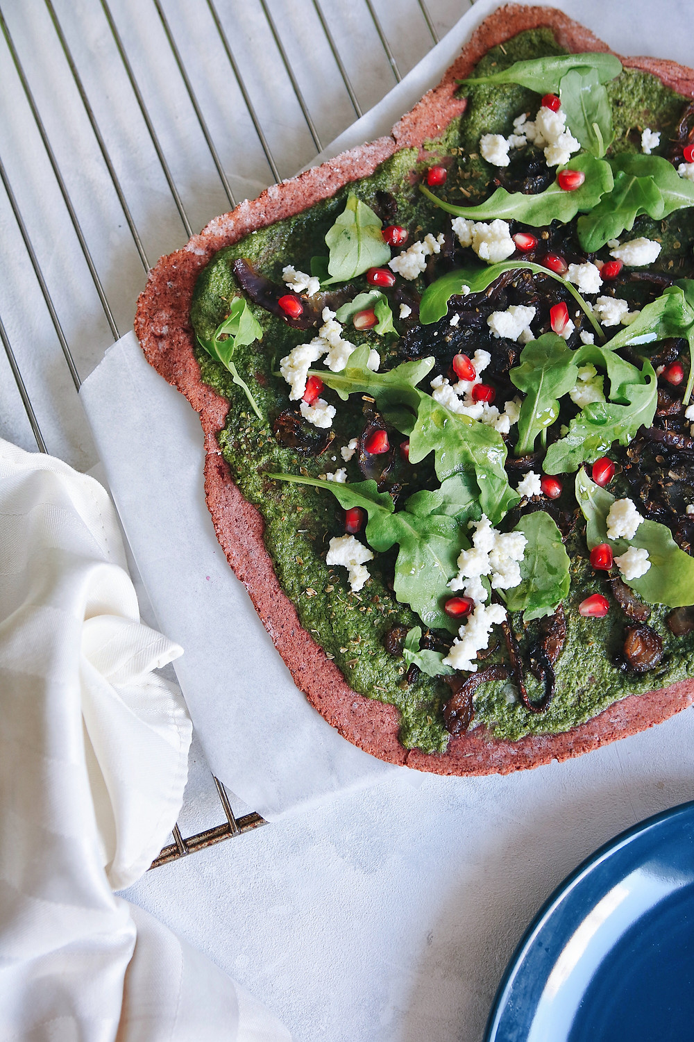 A view of the gluten free beetroot crust pizza.